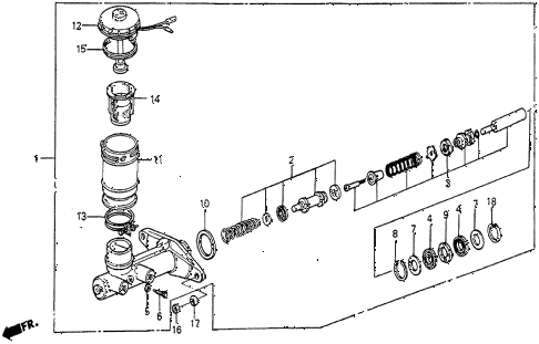 1985 prelude DX 2 DOOR 5MT BRAKE MASTER CYLINDER (DX) diagram