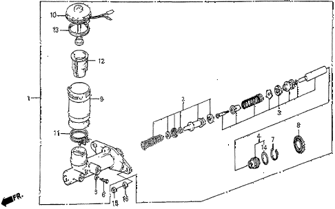 1986 prelude SI 2 DOOR 5MT BRAKE MASTER CYLINDER (SI) diagram