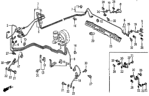 1983 prelude DX 2 DOOR 5MT BRAKE LINES (DX) diagram