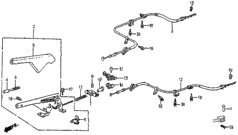 1987 prelude SI 2 DOOR 5MT PARKING BRAKE diagram