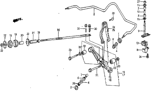 1985 prelude DX 2 DOOR 5MT FRONT LOWER ARM diagram