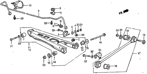 1985 prelude DX 2 DOOR 5MT REAR LOWER ARM diagram