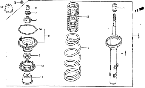 1987 prelude SI 2 DOOR 5MT REAR SHOCK ABSORBER diagram
