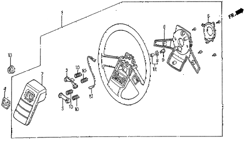 1983 prelude DX 2 DOOR 5MT STEERING WHEEL (DX-1) diagram