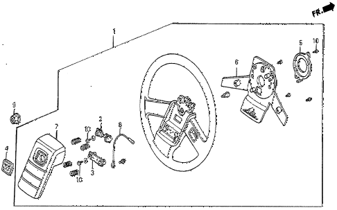 1984 prelude DX 2 DOOR 5MT STEERING WHEEL (DX-2) diagram