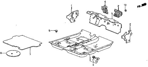 1986 prelude SI 2 DOOR 5MT FLOOR MAT diagram