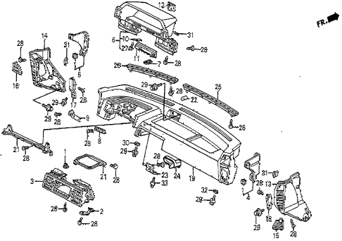 1985 prelude SI 2 DOOR 5MT INSTRUMENT PANEL diagram