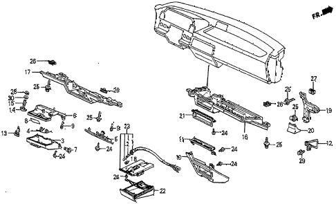 1984 prelude DX 2 DOOR 5MT INSTRUMENT LOWER GARNISH diagram