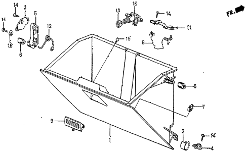 1986 prelude SI 2 DOOR 5MT GLOVE BOX COMPONENTS diagram