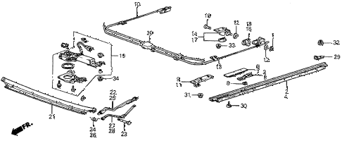 1987 prelude DX 2 DOOR 5MT SUNROOF MOTOR diagram