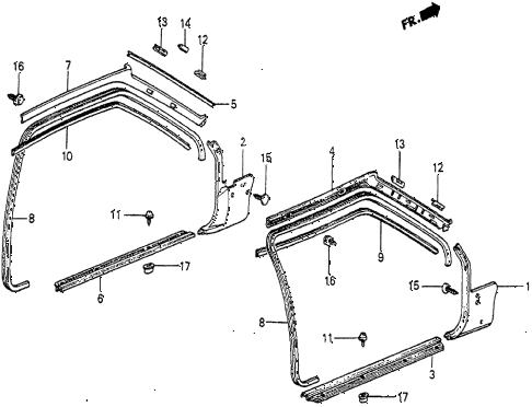1984 prelude DX 2 DOOR 5MT DOOR TRIM diagram