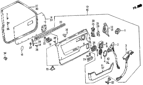 1983 prelude DX 2 DOOR 5MT FRONT DOOR LINING diagram