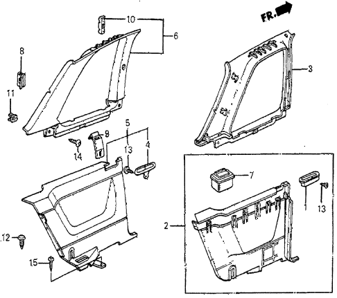 1987 prelude SI 2 DOOR 5MT INTERIOR LINING diagram