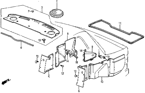 1986 prelude SI 2 DOOR 5MT REAR TRAY diagram