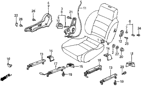 1987 prelude SI 2 DOOR 5MT FRONT SEAT COMPONENTS diagram