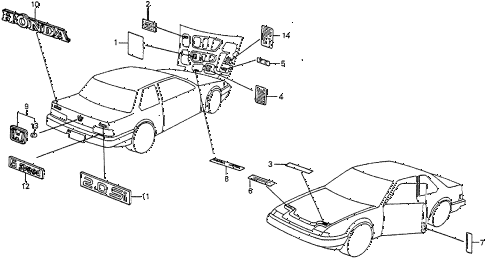 1986 prelude DX 2 DOOR 5MT EMBLEMS diagram