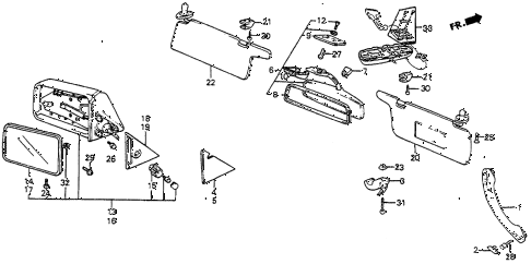 1986 prelude DX 2 DOOR 5MT INTERIOR APPOINTMENTS - DOOR MIRROR diagram