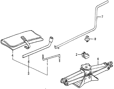 1984 prelude DX 2 DOOR 5MT TOOLS - JACK diagram
