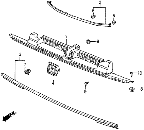 1987 prelude DX 2 DOOR 5MT FRONT GRILLE diagram