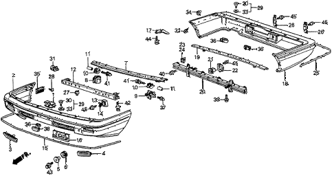 1983 prelude DX 2 DOOR 5MT BUMPER (1) diagram