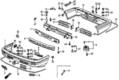 1986 prelude DX 2 DOOR 5MT BUMPER (2) diagram