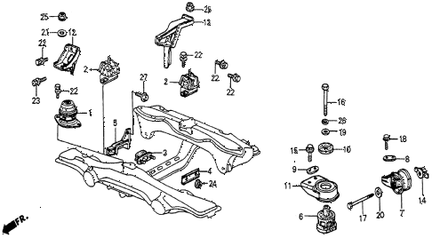 1986 prelude DX 2 DOOR 5MT ENGINE MOUNT diagram