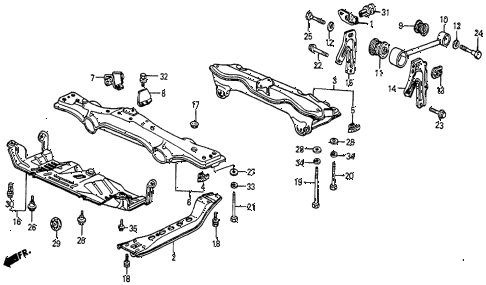 1984 prelude DX 2 DOOR 5MT TORQUE ROD - CENTER BEAM diagram