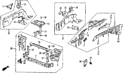 1985 prelude SI 2 DOOR 5MT FRONT BULKHEAD diagram