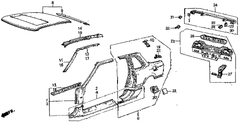 1987 prelude SI 2 DOOR 5MT OUTER PANEL diagram