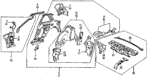 1987 prelude DX 2 DOOR 5MT INNER PANEL diagram