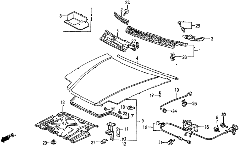 1984 prelude DX 2 DOOR 5MT HOOD diagram