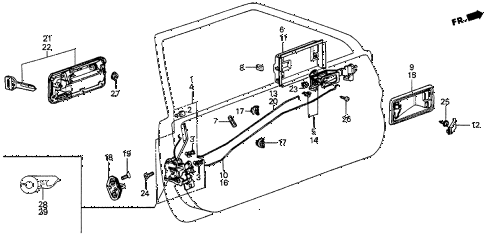 1986 prelude DX 2 DOOR 5MT DOOR LOCK diagram