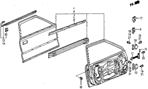 1984 prelude DX 2 DOOR 5MT DOOR PANEL diagram