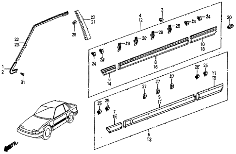 1985 prelude SI 2 DOOR 5MT SIDE PROTECTOR diagram