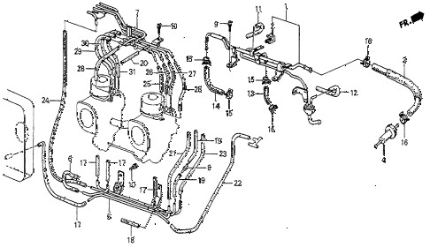 1985 prelude DX 2 DOOR 5MT FUEL LINES (2) diagram