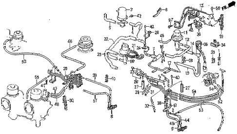 1984 prelude DX 2 DOOR 5MT INSTALL PIPE (1) diagram