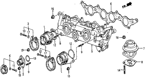 1983 prelude DX 2 DOOR 5MT INTAKE MANIFOLD (1) diagram