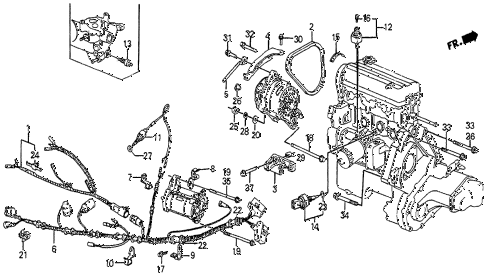1986 prelude DX 2 DOOR 5MT ALTERNATOR BRACKET (DX) diagram