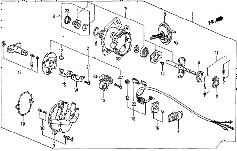 1985 prelude DX 2 DOOR 5MT DISTRIBUTOR (DX) (HITACHI) diagram