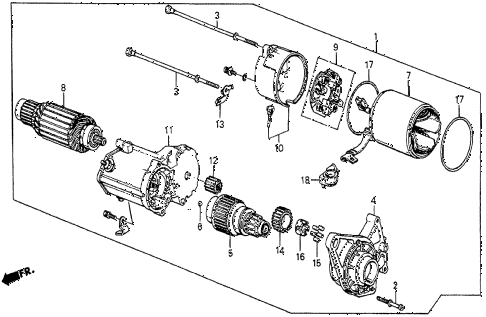 1987 prelude SI 2 DOOR 5MT STARTER MOTOR (DENSO) diagram