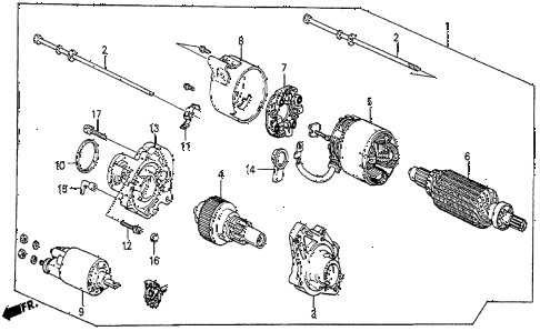1986 prelude DX 2 DOOR 5MT STARTER MOTOR (MITSUBA) diagram
