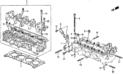 1986 prelude DX 2 DOOR 5MT CYLINDER HEAD diagram
