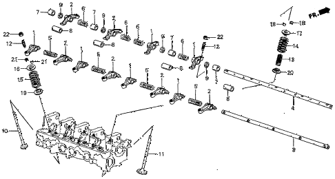 1985 prelude DX 2 DOOR 5MT VALVE - ROCKER ARM diagram