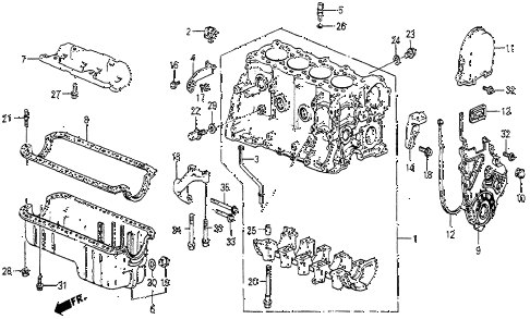 1987 prelude DX 2 DOOR 5MT CYLINDER BLOCK - OIL PAN diagram