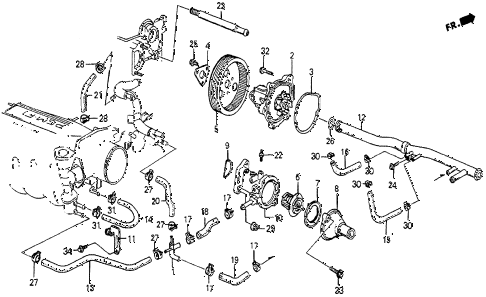 1986 prelude SI 2 DOOR 5MT WATER PUMP (SI) diagram