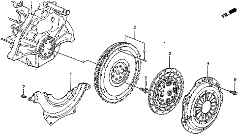 1987 prelude SI 2 DOOR 5MT MT CLUTCH - FLYWHEEL diagram