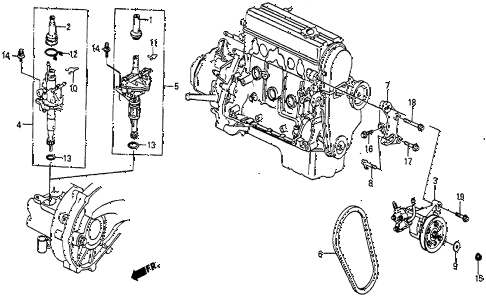 1985 prelude DX 2 DOOR 5MT SPEED SENSOR - P.S. PUMP diagram