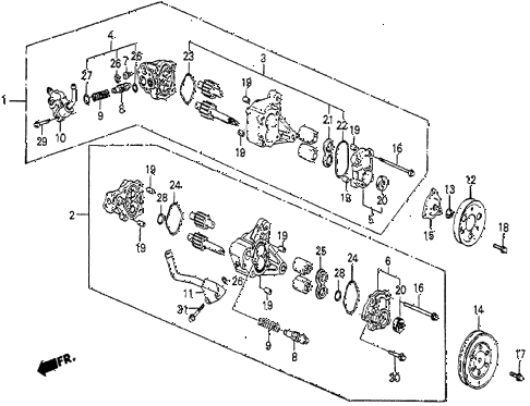 1986 prelude SI 2 DOOR 5MT P.S. PUMP COMPONENTS diagram
