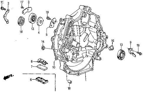 1986 prelude SI 2 DOOR 5MT MT CLUTCH HOUSING diagram