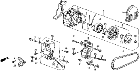 1987 prelude DX 2 DOOR 5MT A/C COMPRESSOR diagram